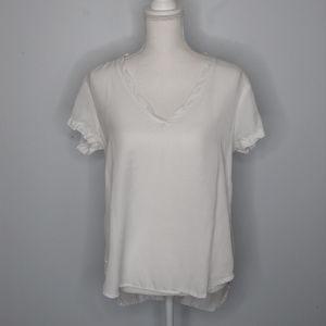 {cloth & stone | Anthro} White Hi Low V Neck Tee